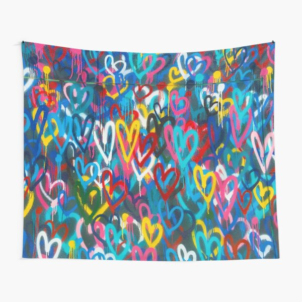 Graffiti Urban colorful graffiti city wall chaotic hearts pattern painting grunge rainbow love Tapestry
