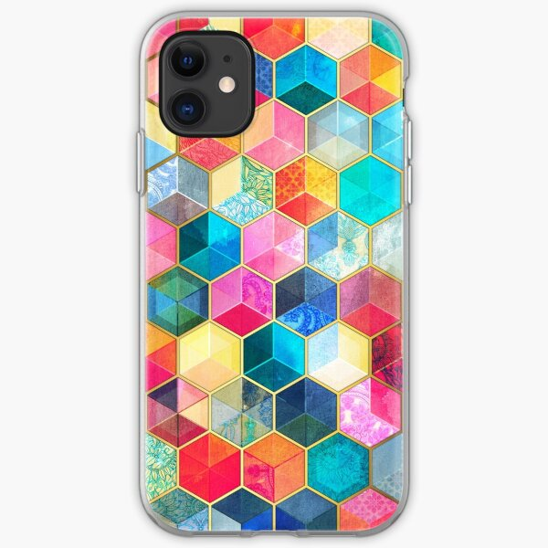 Crystal Bohemian Honeycomb Cubes - colorful hexagon pattern iPhone Soft Case