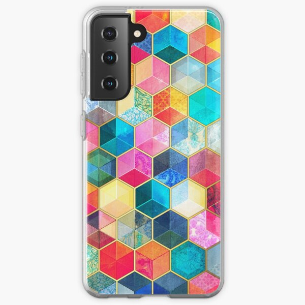 Crystal Bohemian Honeycomb Cubes - colorful hexagon pattern Samsung Galaxy Soft Case