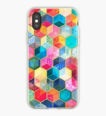 Kristallböhmische Bienenwaben-Würfel - buntes Hexagonmuster iPhone-Hülle & Cover