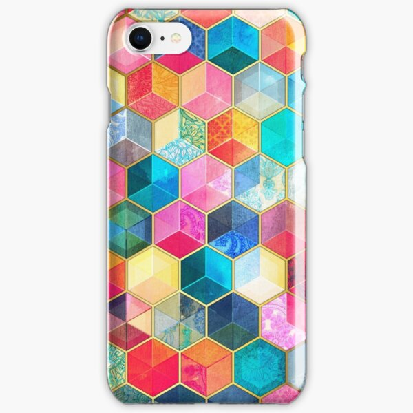 Crystal Bohemian Honeycomb Cubes - colorful hexagon pattern iPhone Snap Case