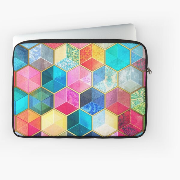 Crystal Bohemian Honeycomb Cubes - colorful hexagon pattern Laptop Sleeve