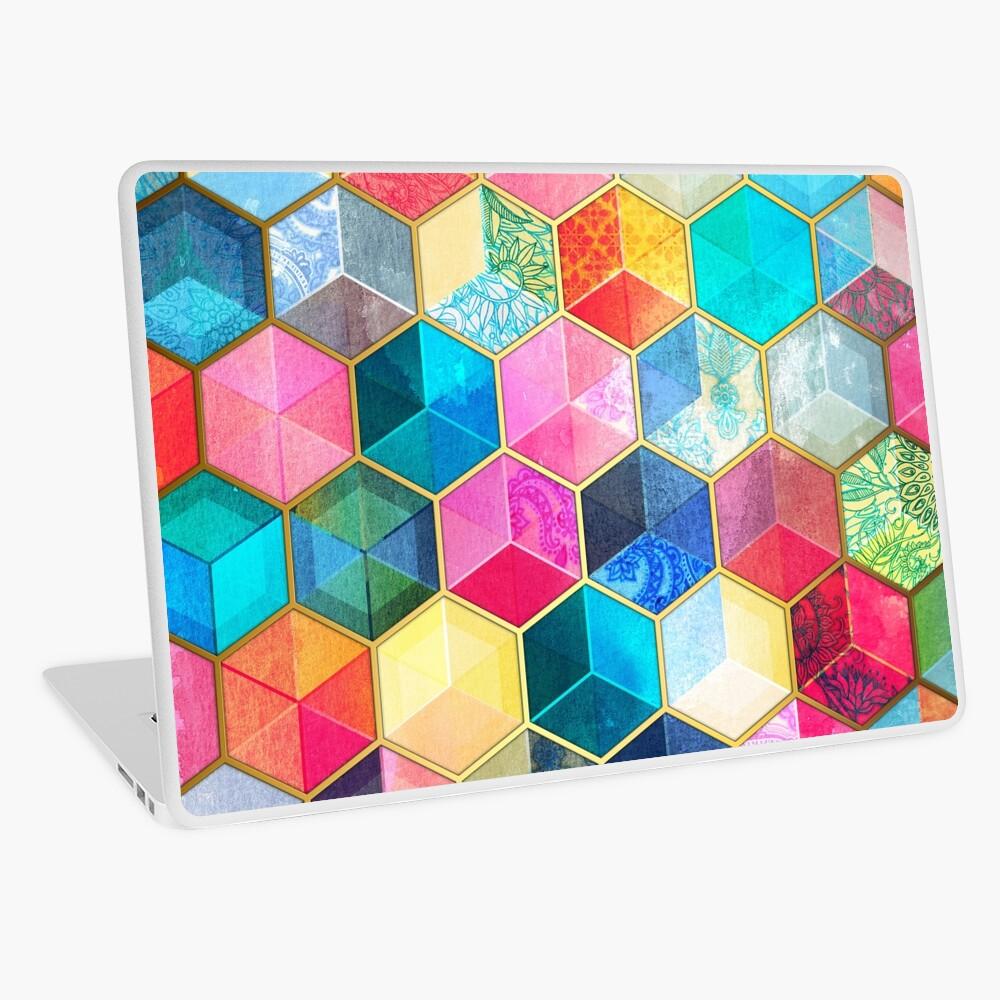 Crystal Bohemian Honeycomb Cubes - colorful hexagon pattern Laptop Skin