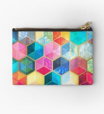 Crystal Bohemian Honeycomb Cubes - colorful hexagon pattern Studio Pouch