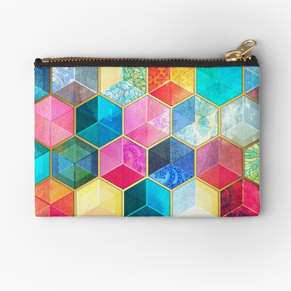 Crystal Bohemian Honeycomb Cubes - colorful hexagon pattern Zipper Pouch