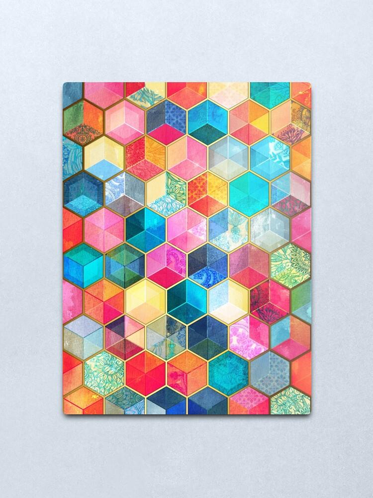 Alternate view of Crystal Bohemian Honeycomb Cubes - colorful hexagon pattern Metal Print