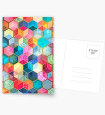 Crystal Bohemian Honeycomb Cubes - colorful hexagon pattern Postcards