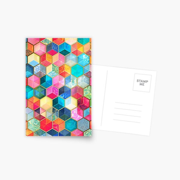 Crystal Bohemian Honeycomb Cubes - colorful hexagon pattern Postcard