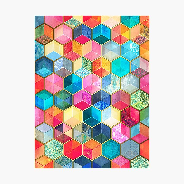 Crystal Bohemian Honeycomb Cubes - colorful hexagon pattern Photographic Print