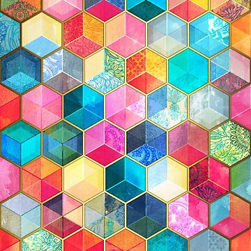 Crystal Bohemian Honeycomb Cubes - patrón hexagonal de colores de micklyn