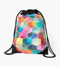 Crystal Bohemian Honeycomb Cubes - colorful hexagon pattern Drawstring Bag