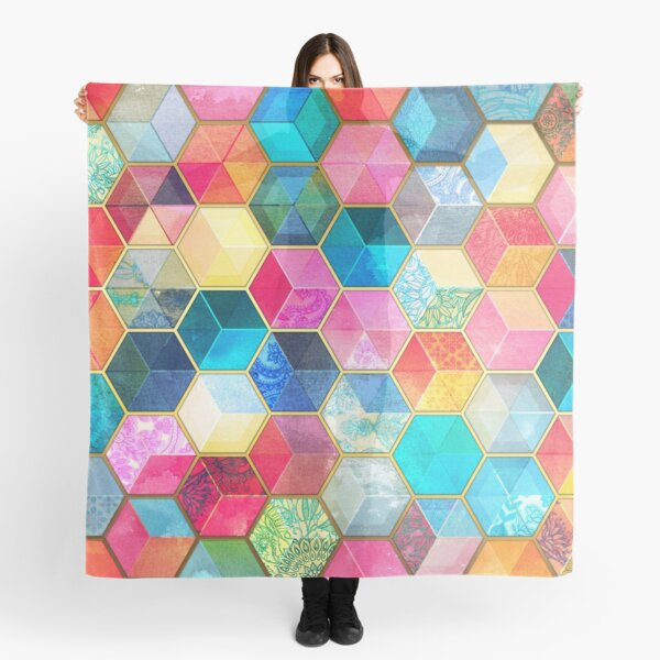 Crystal Bohemian Honeycomb Cubes - colorful hexagon pattern Scarf
