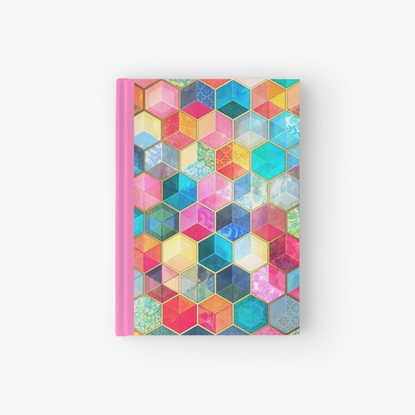 Crystal Bohemian Honeycomb Cubes - colorful hexagon pattern Hardcover Journal