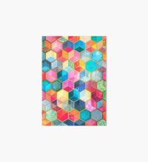 Crystal Bohemian Honeycomb Cubes - colorful hexagon pattern Art Board