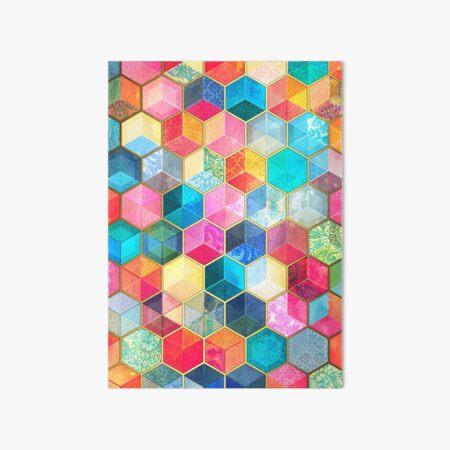 Crystal Bohemian Honeycomb Cubes - colorful hexagon pattern Art Board Print