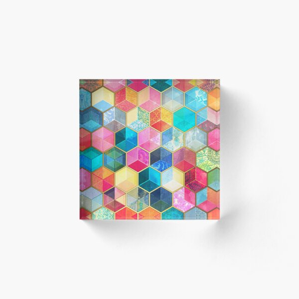 Crystal Bohemian Honeycomb Cubes - colorful hexagon pattern Acrylic Block