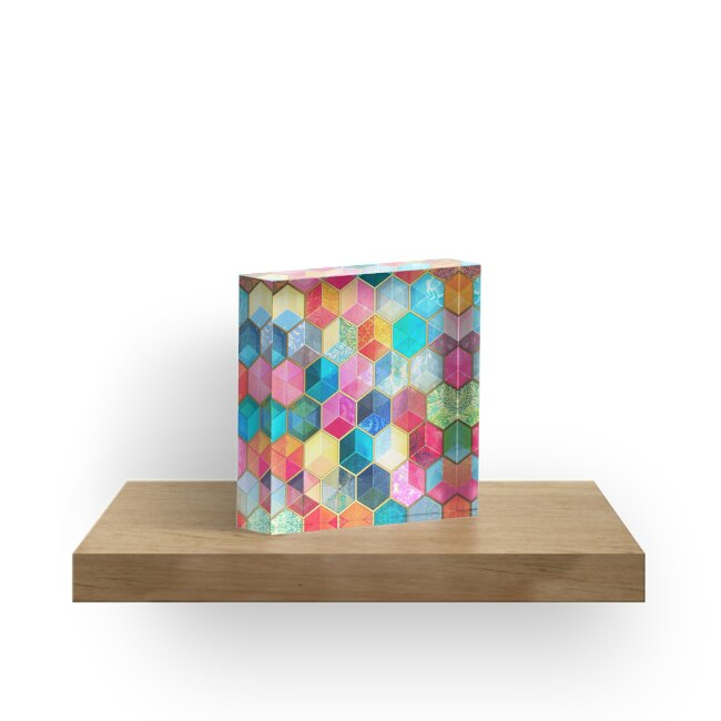 Crystal Bohemian Honeycomb Cubes - colorful hexagon pattern by micklyn