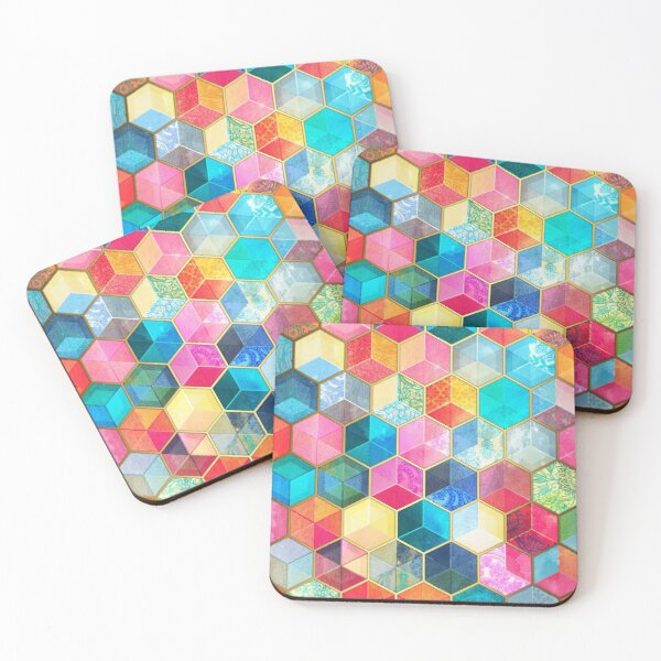 Crystal Bohemian Honeycomb Cubes - colorful hexagon pattern Coasters (Set of 4)