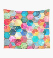 Crystal Bohemian Honeycomb Cubes - colorful hexagon pattern Wall Tapestry
