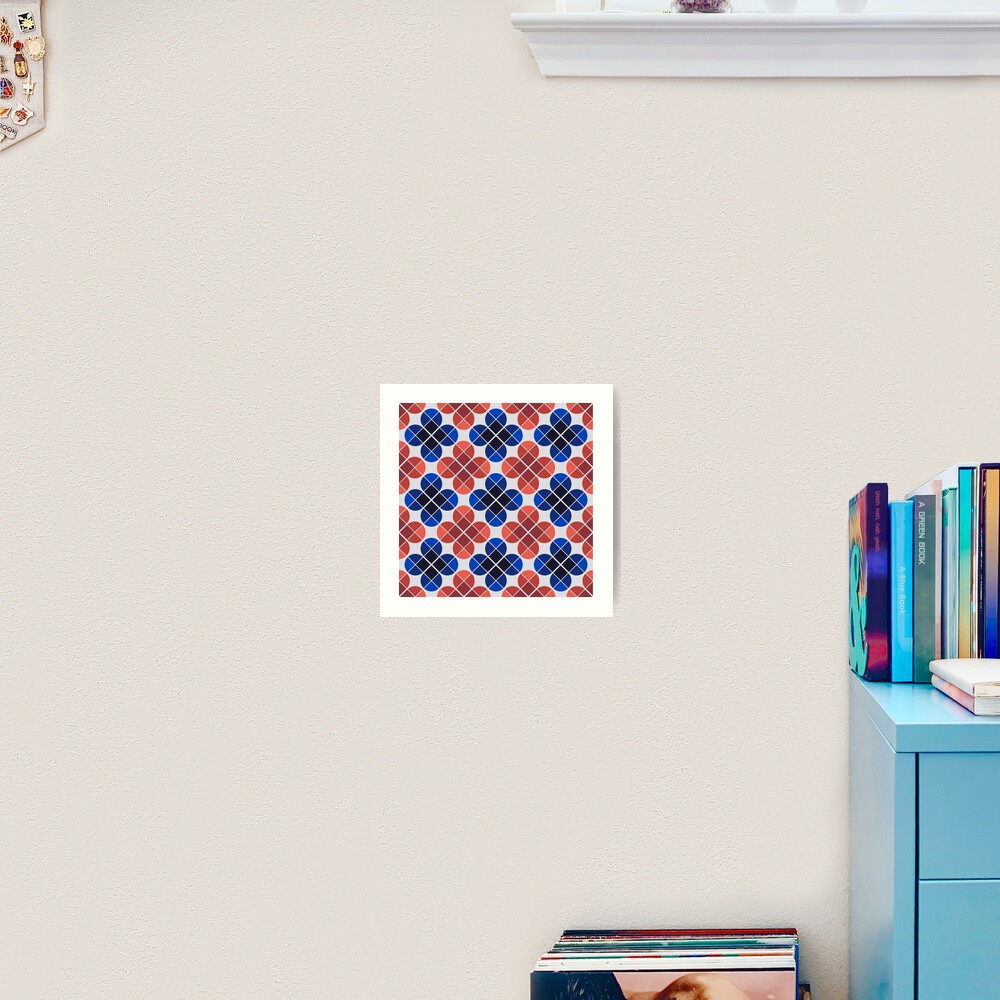 Geometric Pattern: Flower: Four Petal: Blue/Red Art Print