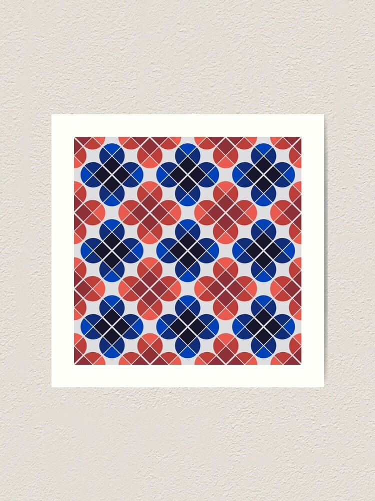 Alternate view of Geometric Pattern: Flower: Four Petal: Blue/Red Art Print