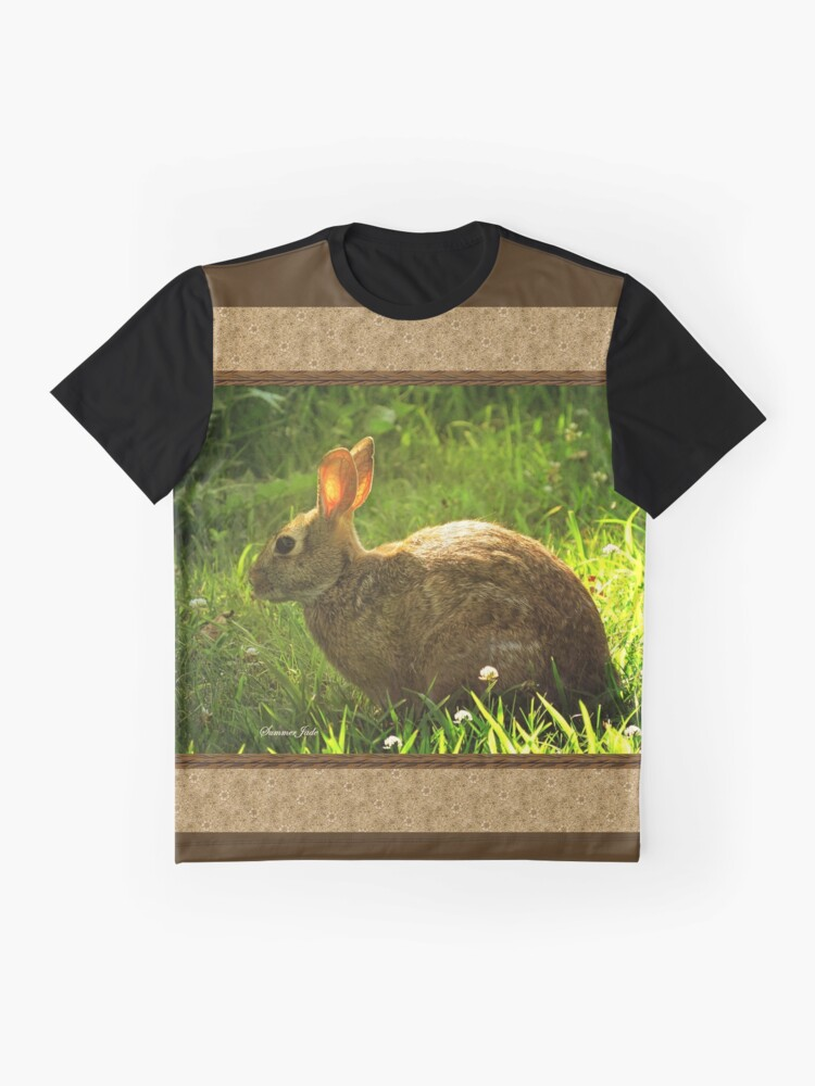 Alternate view of Wild Bunny ~ In a Patch of Clover Graphic T-Shirt