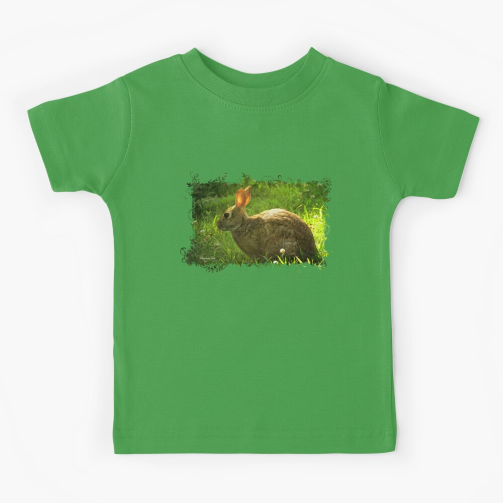 Wild Bunny ~ In a Patch of Clover Kids T-Shirt