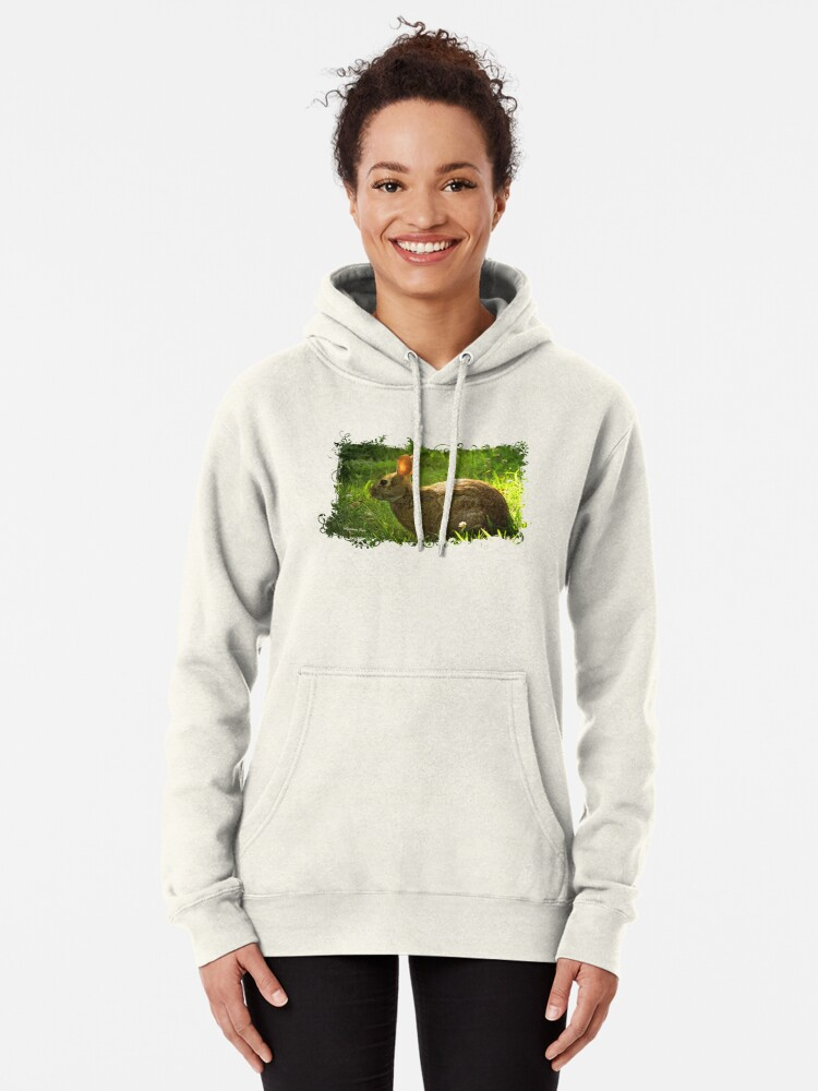 Alternate view of Wild Bunny ~ In a Patch of Clover Pullover Hoodie