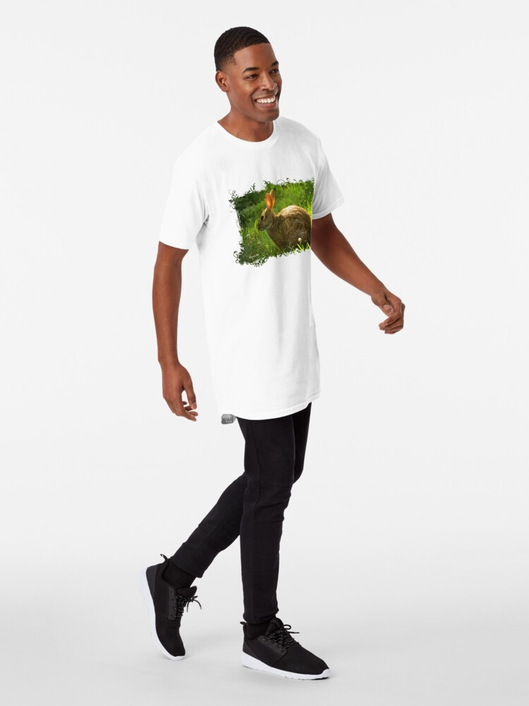 Alternate view of Wild Bunny ~ In a Patch of Clover Long T-Shirt