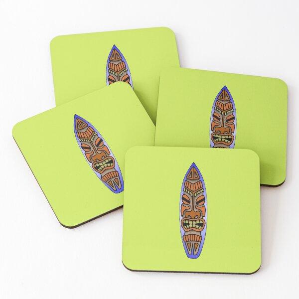 Tiki Surfboard Coasters (Set of 4)