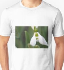 snowdrop close up nature background  Unisex T-Shirt