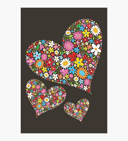 Whimsical Spring Flowers Valentine Hearts Trio Photographic Print