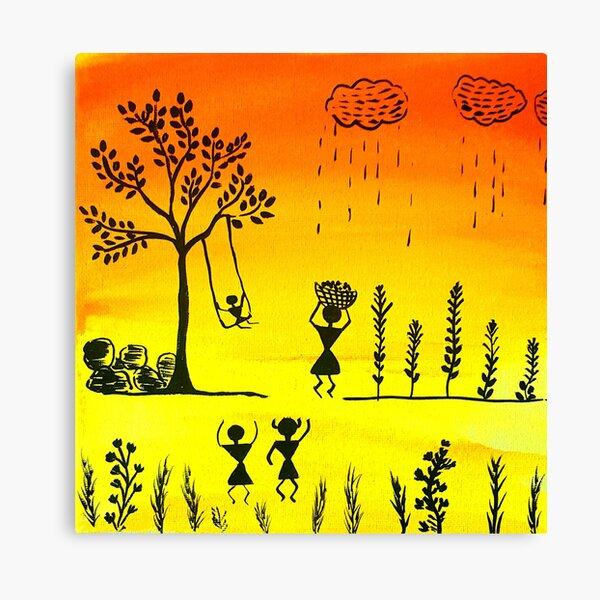 Warli Art Modern Trendy Design Canvas Print By Concept Studio Redbubble