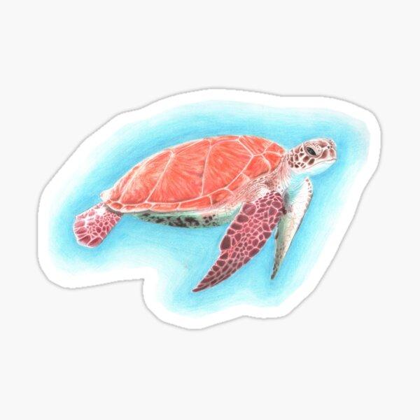 Drifting Turtle Pencil Art Sticker