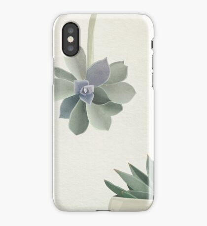 Succulents in shades of green and lilac iPhone Case