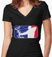Major League Bow Hunting Women's Fitted V-Neck T-Shirt