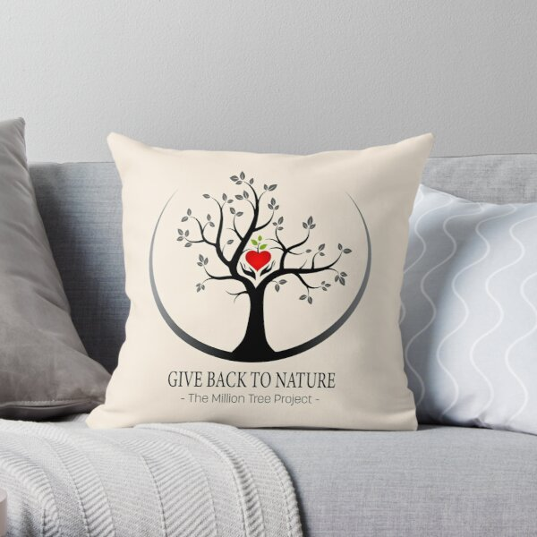 Give Back to Nature Logo - For Light Backgrounds Throw Pillow