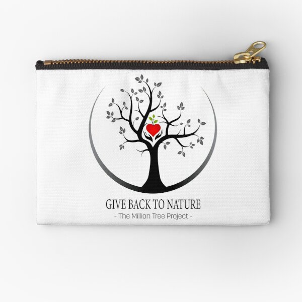 Give Back to Nature Logo - For Light Backgrounds Zipper Pouch