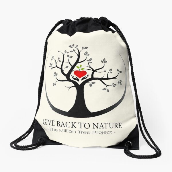Give Back to Nature Logo - For Light Backgrounds Drawstring Bag
