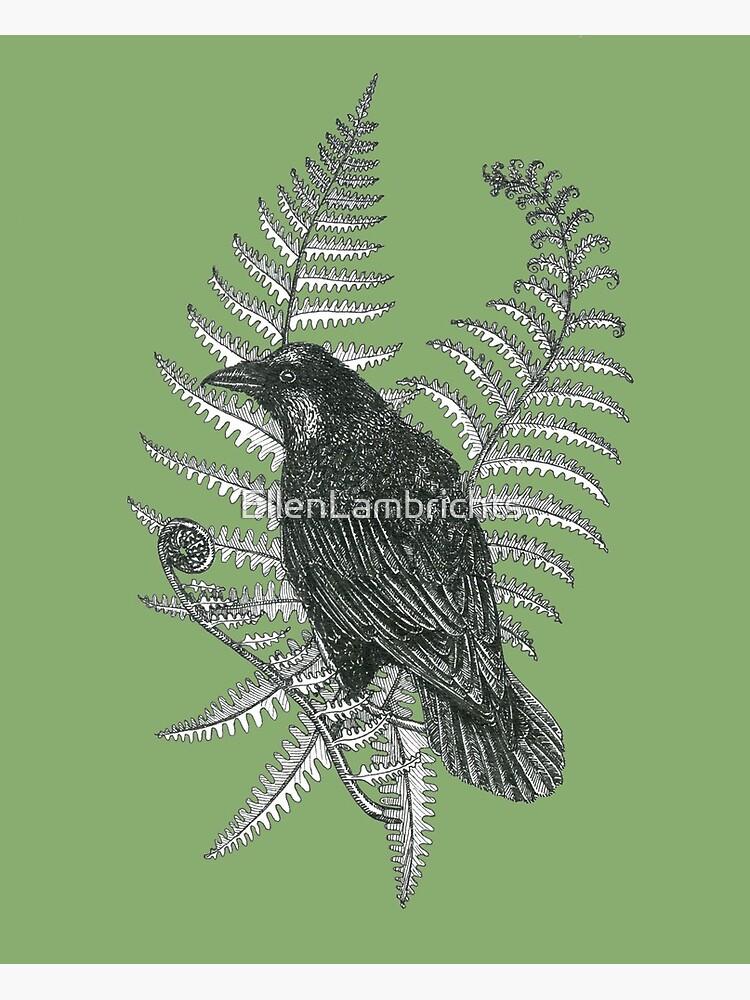 ink crow in a fern forest on dark green by EllenLambrichts