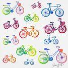 Rainbow bicycle pattern by AnnaWolfArt