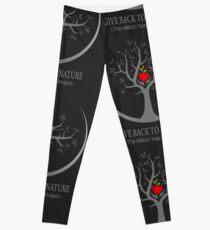 Give Back to Nature Logo - Dark Background Leggings