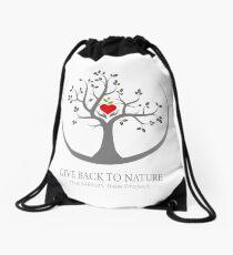 Give Back to Nature Logo - Dark Background Drawstring Bag