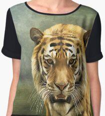 Drawing bengal tiger portrait Chiffon Top