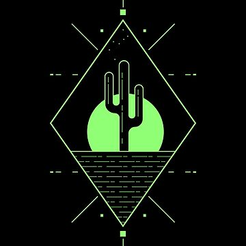 Cactus Desert Graphic Line Art Simple and Minimal by waltondt