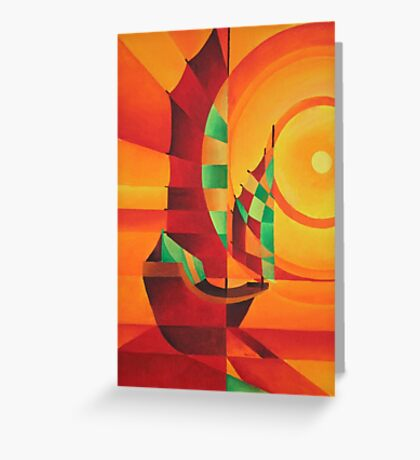 Cubist Junks on A Red Sea Greeting Card