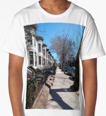 House, New York, Manhattan, Brooklyn, New York City, architecture, street, building, tree, car, pedestrians, day, night, nightlight, house, condominium,  Long T-Shirt