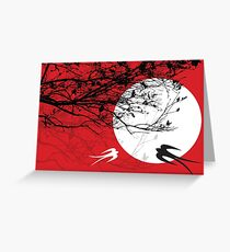 Oriental Swallows In Moonlight  Greeting Card