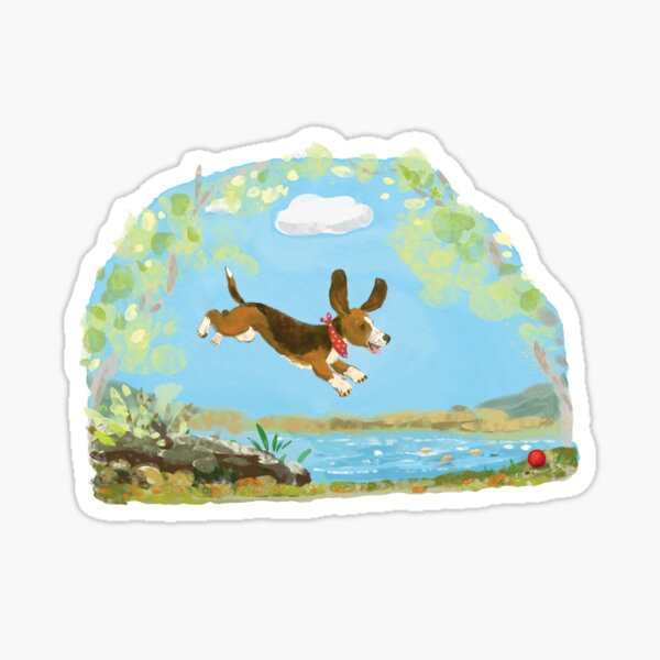 Happy Basset hound dog Sticker