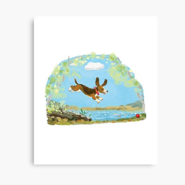 Happy Basset hound dog Canvas Print